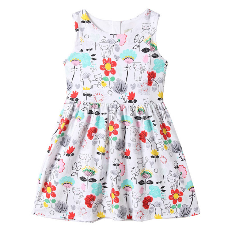 2-7T Baby Girls Short-sleeved Casual Wear Girls Summer Dresses Cute Hot Children Clothes Printed Cartoon Flowers And Cats Dress