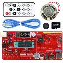 Carte de développement Rich multifonction UNO R3 Atmega328P, Kit pour Arduino avec module capteur MP3 /DS1307 RTC/température/tactile