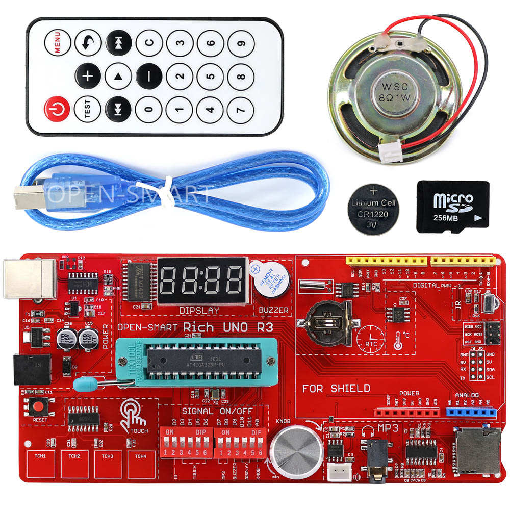 Rijke Multifunctionele UNO R3 Atmega328P Development Board Kit voor Arduino met MP3/DS1307 RTC/Temperatuur/Touch Sensor module