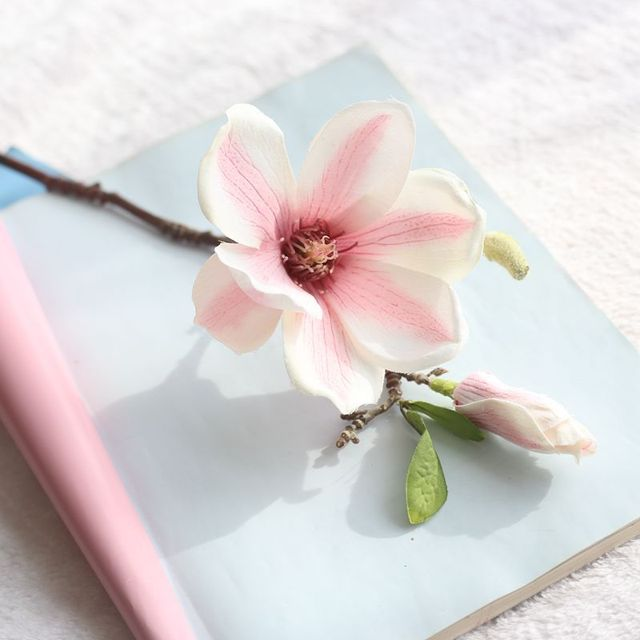 Jarown Artificial Magnolia Silk Flower Branch Fake Flower Fleur