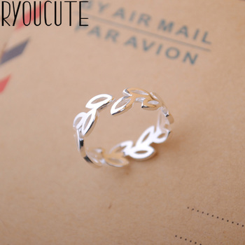 Bohemian Vintage Silver Color Leaf Rings for Women Bijoux Gift Female Adjustable Size Finger Rings Anillos Wholesale 1