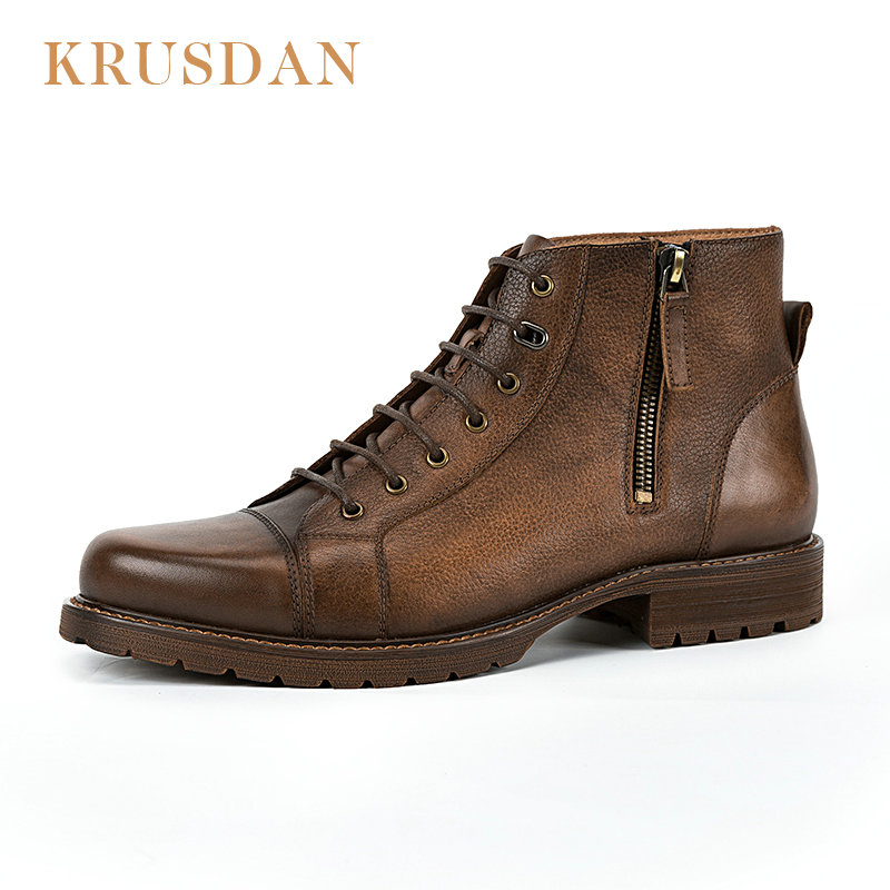KRUSDAN 2018 fashion coffee dark blue Retro mens motorcycle boots genuine leather mens boots outdoor shoes