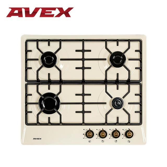 Встраиваемая варочная панель AVEX NS 6042 YR, чугунные решетки, автоматический электро-поджиг, ручки под латунь Рустик