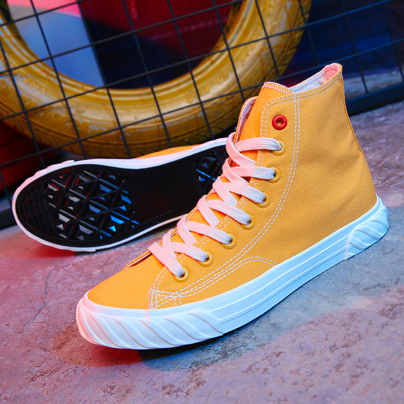 New Canvas Footwear For Men Yellow Beige Casual Footwear Youth High Top Casual Brand Men Shoes New Arrival Walking Shoes Canvas 4