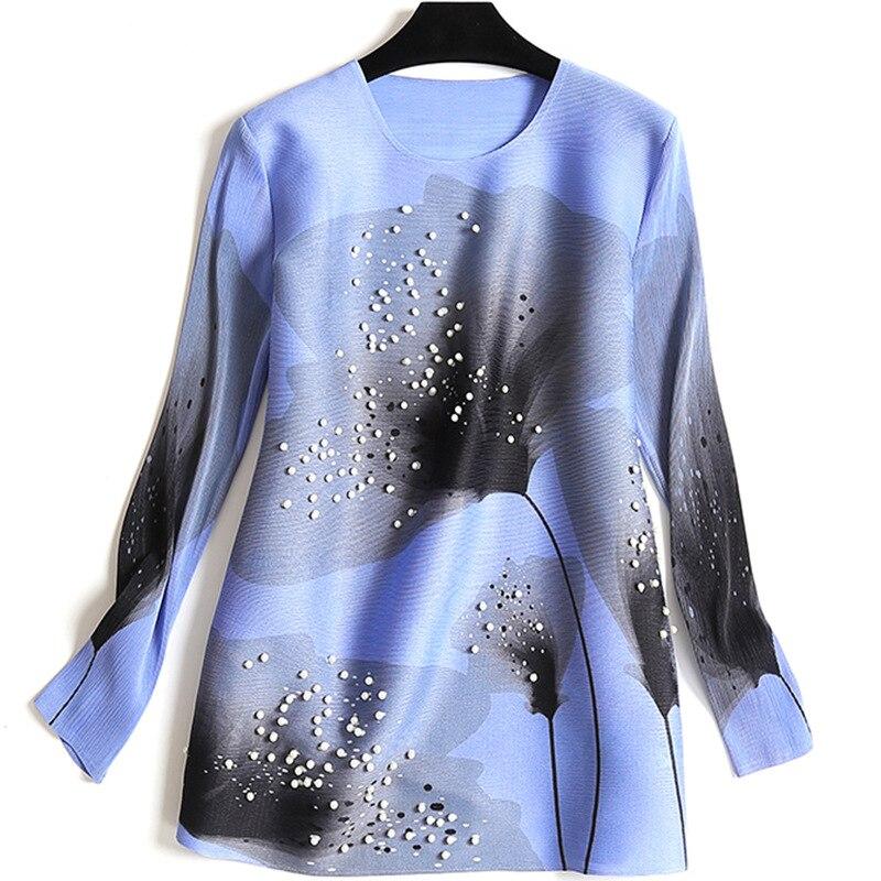 Col Impression T Livraison Heavy Manches Gratuite Perlé Femmes Longues Duty Printemps Rond Miyake rouge Nouvelles De shirt Bleu PX4Pxg