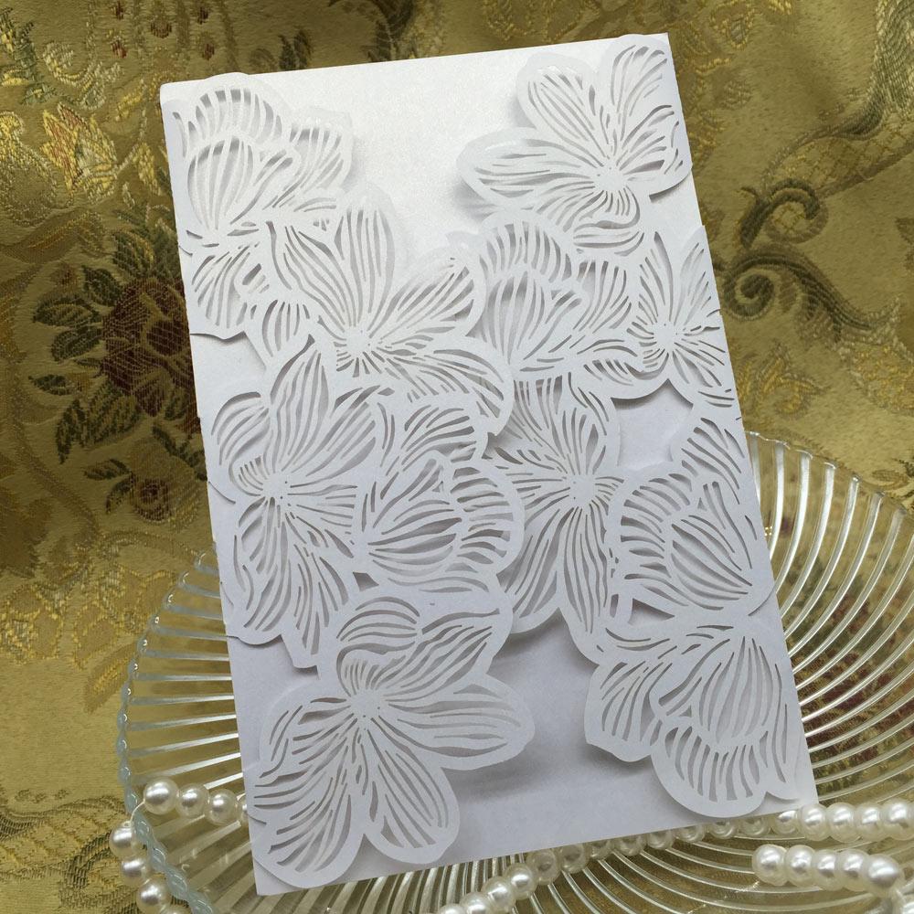 40pcs Iridescent Pearl Paper Wedding Invitation Card Leaves Pattern ...