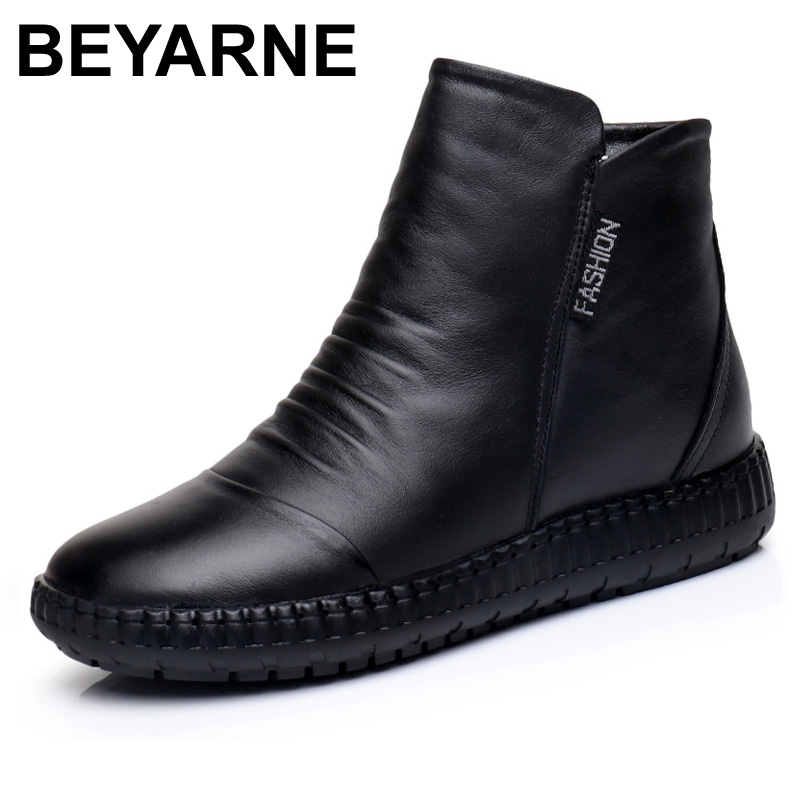 2017Winter Genuine Leather Warm Women Boots Vintage Style Hand Sewing Flat Ankle Boots Soft Comfy Casual Women's Shoes Zip Boots 2017 autumn vintage style women boots genuine leather shoes flat handmade warm winter fur women ankle boots big size 39 40 41 42