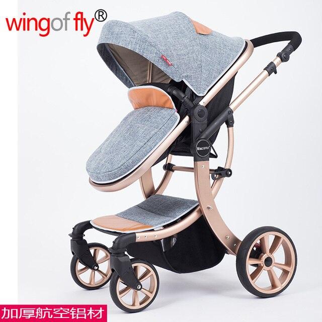 Новый Стиль мода высокое качество лето зима 4 колеса лен детские коляски амортизатор алюминиевого сплава качества ребенка коляска