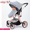 El más nuevo Estilo de moda de verano de alta calidad de invierno 4 de la rueda cochecito de bebé de aleación de aluminio amortiguador de lino calidad cochecito infantil