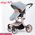 Newest Style fashion high quality summer winter 4 wheel  flax baby stroller shock absorber aluminum alloy quality child stroller