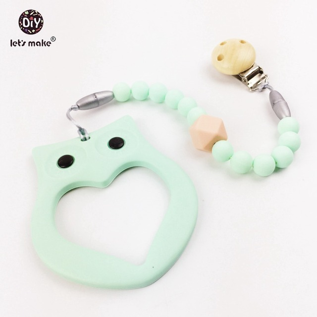 Baby Silicone Teether Pacifier Clips Chewable Beads Safe and Natural Baby Teether Toys Silicone Baby Teether Bracelet
