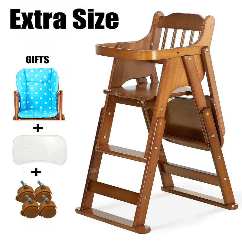 Extra Size Baby Feed Chair With Gifts, Bigger Seat Kids Highchair With Adjustable Height, Foldable Baby Feed Chair No Need Tools