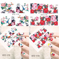 1 Sheets NEW Latest 2016 Nail Art Flower Decals Watermark DIY Beauty Painting for Nails Decorations Nail Sticker STZ172-173
