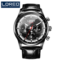 LOREO Classics Black Stainless Steel Luminous Multifunctional 100m Waterproof Diver Watch Casual Fashion Mechanical Men Watch