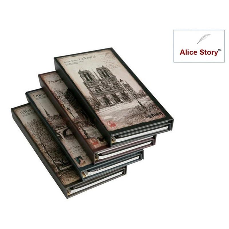 Vintage ρομαντική πόλη hardcover 3 φορές σημειωματάριο σημειωματάριο μικρό σημειωματάριο 3 στυλ σε 1 σετ