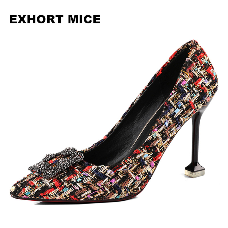 Women Pumps 2018 Spring Autumn New Fashion Straw Woven Women's Shoes With High-heeled Nightclub Single Shoes 9cm Fight color siketu free shipping spring and autumn high heels shoes career sex women shoes wedding shoes g012 nightclub pumps