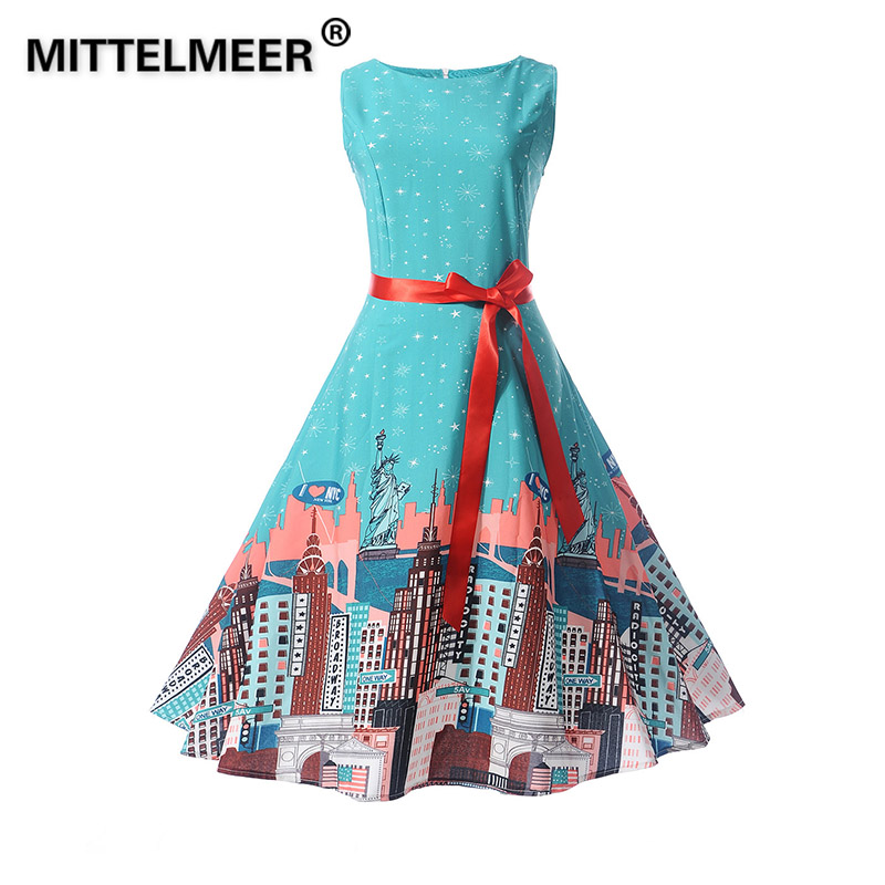 MITTELMEER Cartoon city Print Vintage Summer Dress Woman girls Retro sleeveless Elegant Party Dresses vestidos verano belt