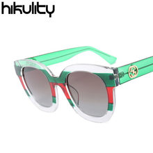 221d8aea36d Italy Famous Brand Designer Contrast Green Red Luxury Sunglasses Women 2018  Gradient Patchwork Sun Glasses Men Lunette Oculos