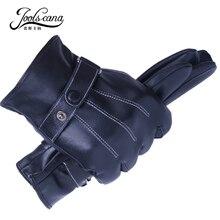 Joolscana Winter Men's Genuine Leather Gloves Touch Screen Gloves Black Fashion Warm Gloves Goatskin Mittens 2017 New Brand