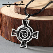 Cxwind Vintge Spiral Whirlpool Cross Pendant Charm Necklace Viking Slavic Runes Pendants & Necklaces Men Women Faith Jewelry(China)
