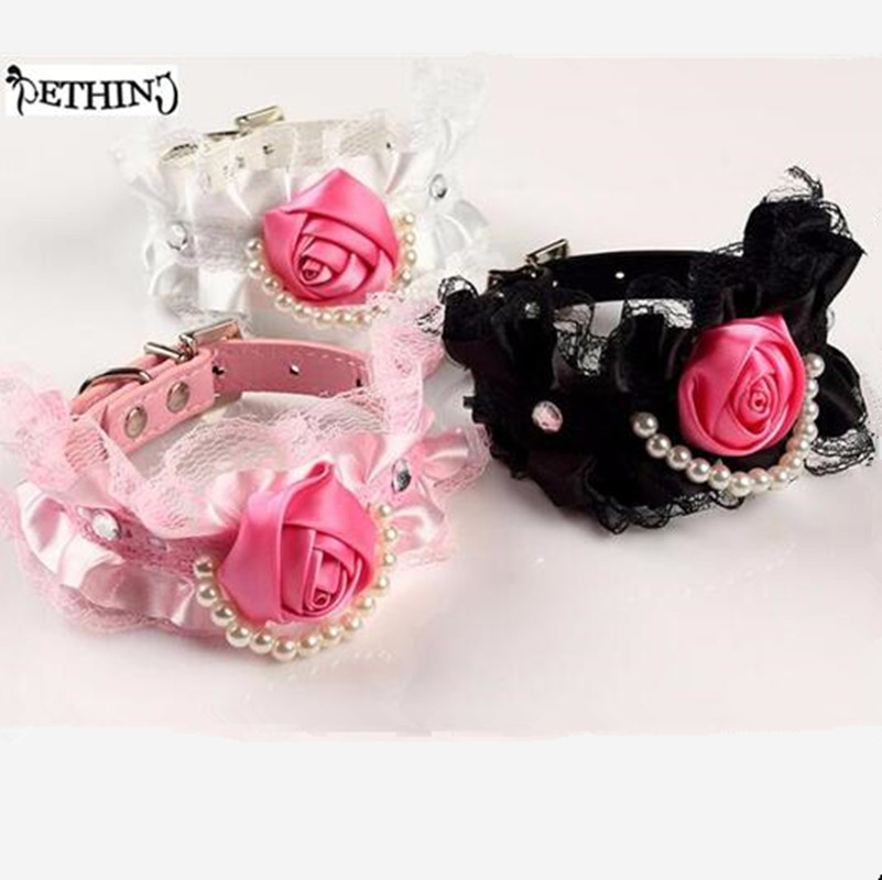 ETHIN pet dog cat lace pearl PU leather collar doggy pet necklace supplies product puppy Dog Collar with Roses Flower S M 2 Size