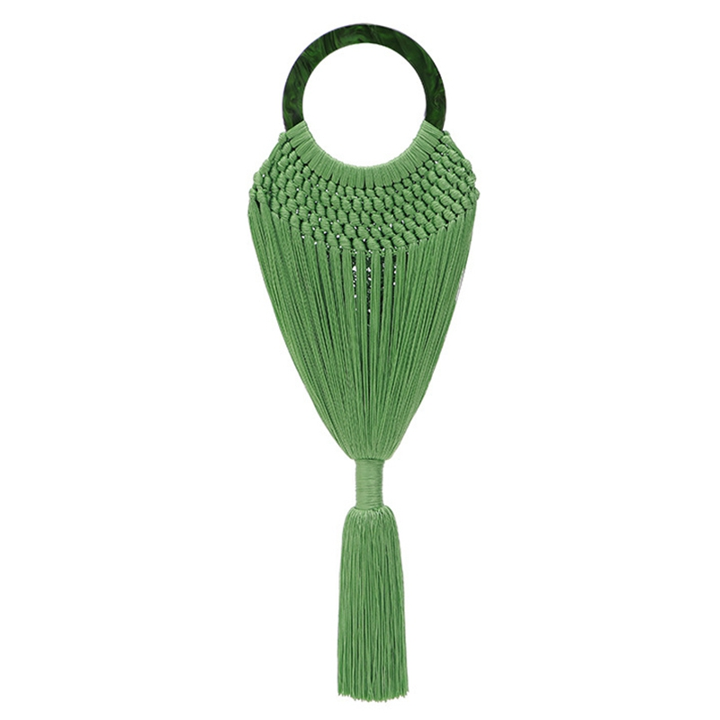 Acrylic Handle Women Tassel Body Handbags Handmade Weave Mesh Net Basket Female Ring Handle Tote Braided Summer Beach BagAcrylic Handle Women Tassel Body Handbags Handmade Weave Mesh Net Basket Female Ring Handle Tote Braided Summer Beach Bag