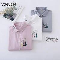 VOGUE N New Womens Ladies Spring Casual Vase Print Long Sleeve Doll Collar Button Down Shirt