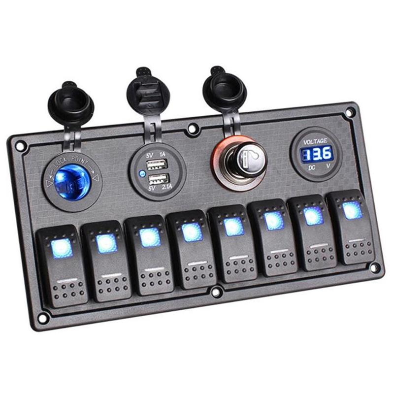 Car DC 12-24V ABS PC Aluminum Marine Boat 8 Gang Waterproof LED Rocker Switch Panel Circuit Breaker Auto Interior Parts 15a dc output car auto boat marine led ac dc rocker switch waterproof panel dual power control overload protection