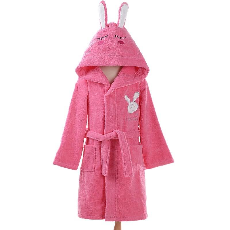 Bathrobe kids hooded Boys Cotton towel fleece pink bathrobe for Boys white blue bath robe cotton pajamas baby Christmas gift