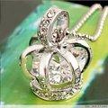 1pcs silver color  bird cage costume crown pendant necklace with crystal zircon pendant elegant jewlery