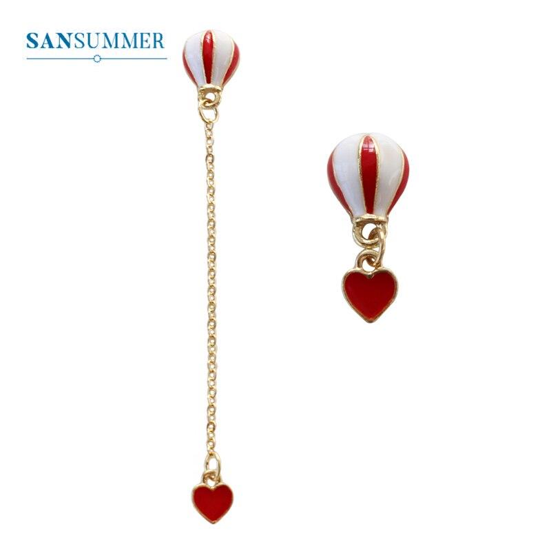 SANSUMMER Earrings For Women Red Heart Pendant Balloon Personality Fashion Earring 925 Needle Asymmetric Earrings 588