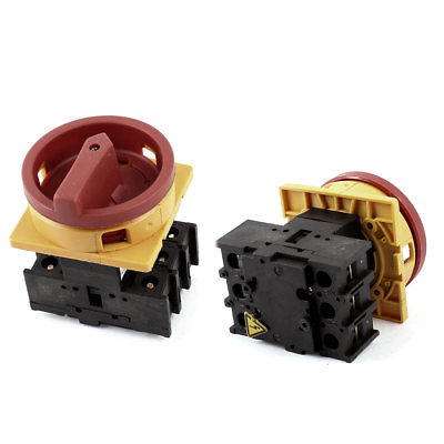 2pcs Rotary 6 Terminals On/Off Position Universal Changeover Switch AC660V 32A ac 380 440v 10a on off position universal changeover switch blue