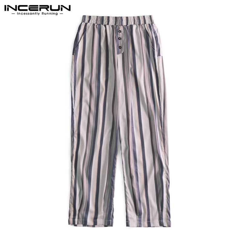 Summer Retro Men Baggy Pants Loose Wide Legs Stripe Print Calf Length Button Decor Harem HipHop Joggers Big Size S-5XL Casual