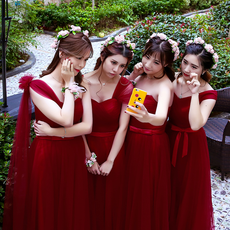 4e932b2234d Robe De Soriee Simple Bridesmaid Dresses Cheap Under 50 Wine Red Pleat  Floor length Elegant Wedding Prom Party Gown Online China-in Bridesmaid  Dresses from ...