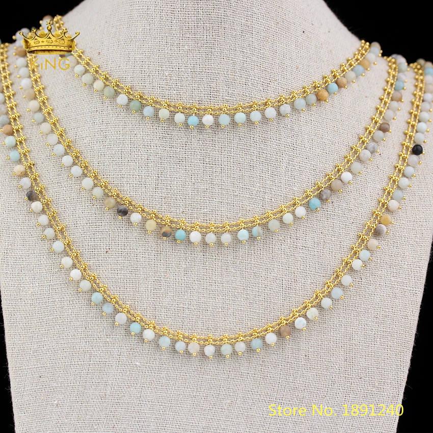 5 mètres 4mm pierres naturelles Amazonite rondes perles en vrac fil enroulé plaqué or liens en cuivre perlé chaîne artisanat Chokers HX215