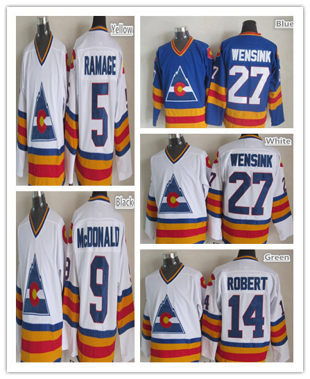 755c494ae Men John Wensink Jersey 9 Lanny McDONALD 14 Rene Robert 5 Rob Ramage Colorado  Rockies Jersey