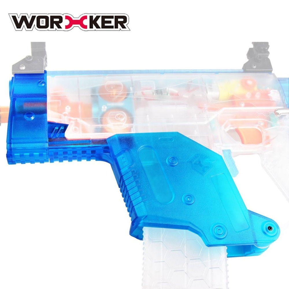 WORKER Modified Short Sword Shaped Cover Transparent Blue Toy Gun Accessories Kit Removable Front Tube for Nerf Stryfe Toy Gun