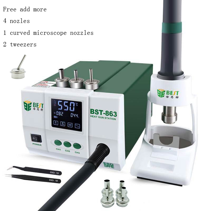 Lead-free Adjustable Hot Air Rework Station Soldering Touch Screen LCD 1200W 220V 863 For Phone CPU PCB Better Than QUICK 861DW