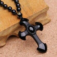 Envío de la gota Cruces Lucky Tallado Natural Negro Obsidiana Amuleto Colgante de Collar Para Las Mujeres de Los Hombres colgantes de la Joyería de Jade 52*36mm