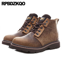 Designer Men Booties Military Army Brown Luxury Autumn Shoes Full Grain Leather Boots Short Fall Chunky Real Ankle 2018 Combat