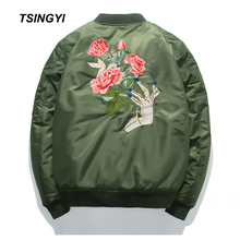 Tsingyi Spring Jacket Men Embroidery Rose Floral Windbreaker Military Bomber Jacket Stand Collar Veste Militaire Homme Mens Coat