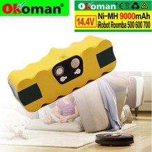 Roomba bateria 14.4v para aspirador de pó, para substituição, 9000mah, estendida-para irobot, 500, 600, 700, 800