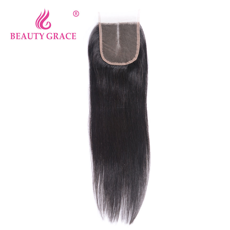 Beauty Grace Brazilian Straight Lace Closure 4x4 Non Remy 100% Human Hair With Baby Hair Middle Free Three Part Top Closures
