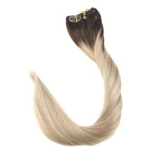 Full Shine Clip in Remy Human Hair Extensions 7Pcs 100g Balayage Color #3 Fading To 24 and 27 Blonde Double Weft