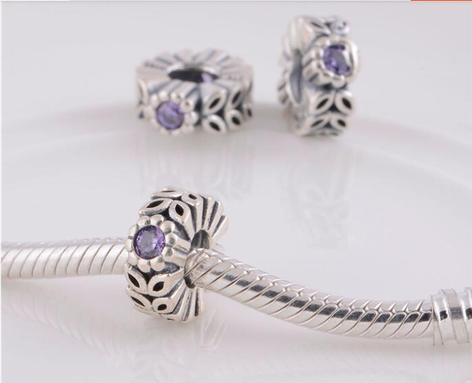 ad57afadd ... new zealand authentic 925 silver purple sparkling forest flower spacer  beads and charms fit pandora style ...