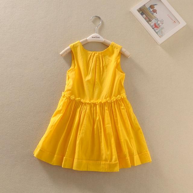 New Arrival Baby Girls Summer  Dresses Girls Floral Dresses With Belt Girls Cotton Summer Sleeveless Dress