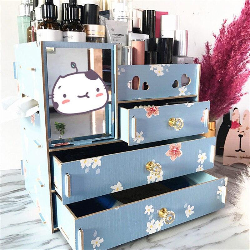 Lasperal Diy En Bois Boîte De Rangement Maquillage