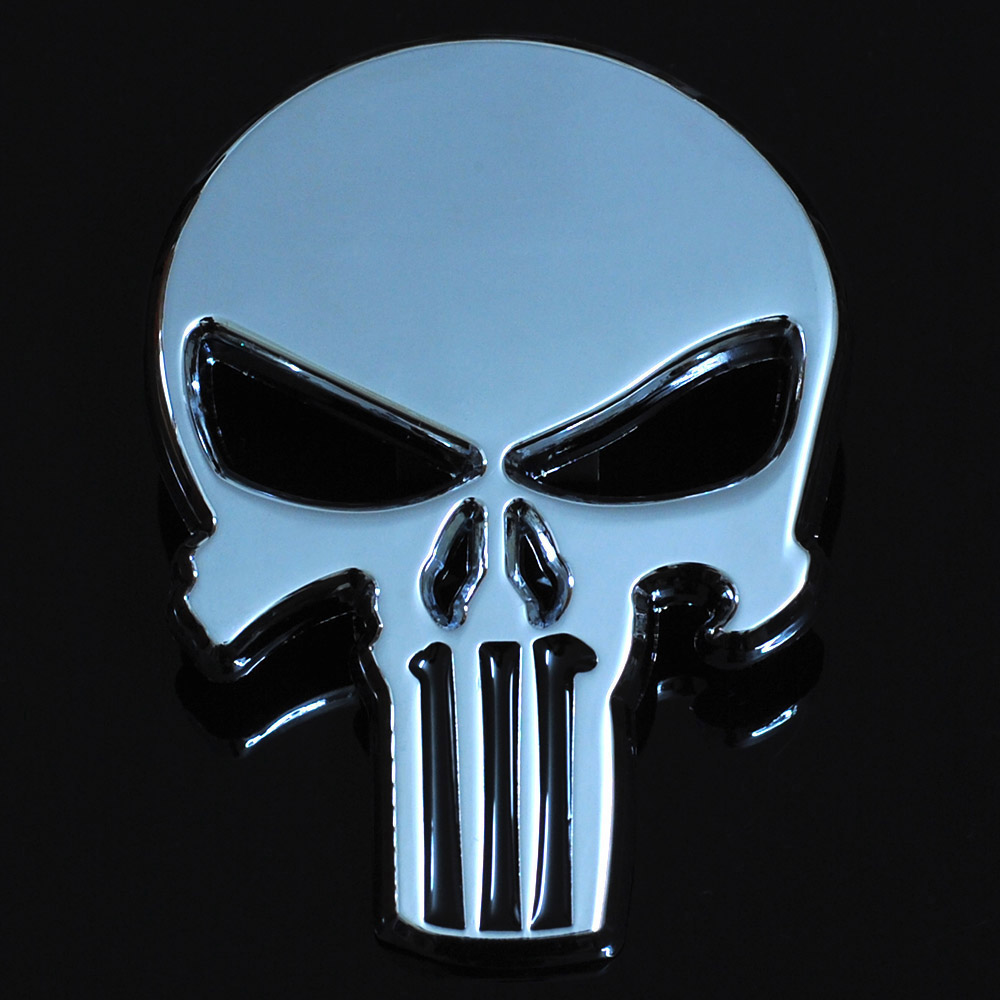 New Silver 3D Zinc Alloy Metal Skull Car-Styling Stickers Cool Motorcycle Truck Badge Emblem Tail Decal Motorbike Accessories nail tips art the edge cutter black