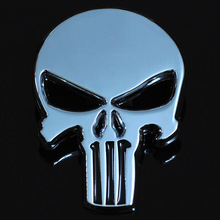 New Silver 3D Zinc Alloy Metal Skull Car-Styling Stickers Cool Motorcycle Truck Badge Emblem Tail Decal Motorbike Accessories
