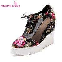 MEMUNIA 플러스 크기 34-42 새로운 패션 웨지 레이스 업 하이힐 펌프 봄 독특한 꽃 웨딩 여성 신발
